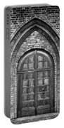 Church Door Monochromatic Portable Battery Charger by Antony McAulay