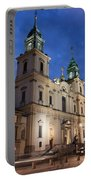 Church Of The Holy Cross At Night In Warsaw Portable Battery Charger