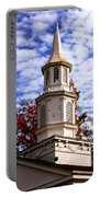 Church Steeple In Autumn Blue Sky Clouds Fine Art Prints As Gift For The Holidays Portable Battery Charger