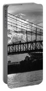Cincinnati Suspension Bridge Black And White Portable Battery Charger by Mary Carol Story