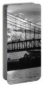 Cincinnati Suspension Bridge Black And White Portable Battery Charger