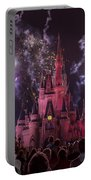 Cinderella's Castle With Fireworks Portable Battery Charger by Adam Romanowicz
