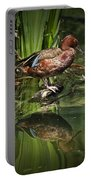 Cinnamon Teal Duck With Reflection Portable Battery Charger