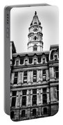 City Hall Philadelphia - Black And White Portable Battery Charger