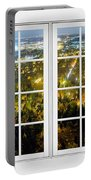 City Lights White Window Frame View Portable Battery Charger