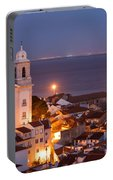 City Of Lisbon In Portugal At Night Portable Battery Charger