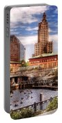 City - Providence Ri - The Skyline Portable Battery Charger by Mike Savad