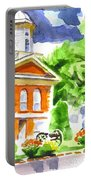 City Square In Watercolor Portable Battery Charger