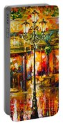 Clarens Misty Cafe Portable Battery Charger by Leonid Afremov