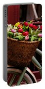 Classic Bicycle With Tulips Portable Battery Charger