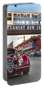 Classic Cannery Row - Monterey California With A Vintage Red Car. Portable Battery Charger