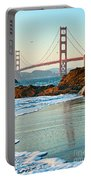 Classic - World Famous Golden Gate Bridge With A Scenic Beach And Birds. Portable Battery Charger