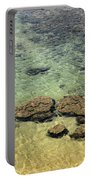 Clear Indian Ocean Water With Rocks At Galle Sri Lanka Portable Battery Charger
