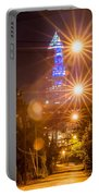 Cleveland Downtown Street View At Night Portable Battery Charger