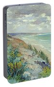 Cliffs By The Sea At Trouville  Portable Battery Charger
