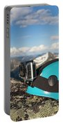 Climbing Helmet With Camera On Mountain Portable Battery Charger