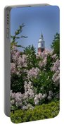 Clock Tower And Lilacs Portable Battery Charger