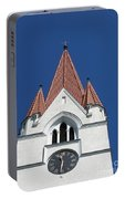 Clock Tower. Evangelic Lutheran Church. Silute. Lithuania. Portable Battery Charger