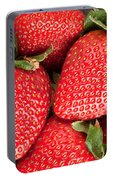 Close Up Of Delicious Strawberries Portable Battery Charger