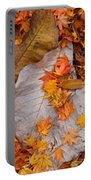 Close-up Of Fallen Maple Leaves Portable Battery Charger