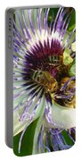 Close Up Of Passion Flower With Honey Bee  Portable Battery Charger