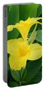 Closeup Of A Tropical Yellow Canna Lily Portable Battery Charger