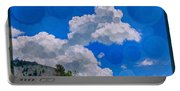 Clouds Loving A Friendly Mountain Landscape Painting Portable Battery Charger