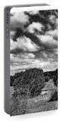 Cloudy Countryside Collage - Black And White Portable Battery Charger