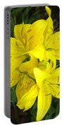 Cluster Of Yellow Lilly Flowers In The Garden Portable Battery Charger