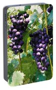 Clusters Of Red Wine Grapes Hanging On The Vine Portable Battery Charger
