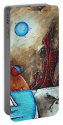 Coastal Abstract Cityscape Art Original City Painting Morning Retreat By Madart Portable Battery Charger