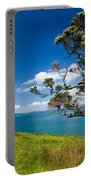Coastal Farmland Landscape With Pohutukawa Tree Portable Battery Charger