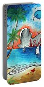 Coastal Tropical Beach Art Contemporary Painting Whimsical Design Tropical Vacation By Madart Portable Battery Charger