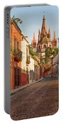 Cobblestone Street In San Miguel De Allende Portable Battery Charger