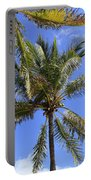 Cocoanut Palm Trees Sky Background Portable Battery Charger