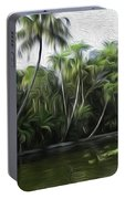 Coconut Trees And Other Plants Lined Up Portable Battery Charger