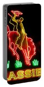 Cody Wyoming Neon Lounge Sign At Night Portable Battery Charger