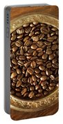 Coffee Beans On Antique Silver Platter Portable Battery Charger