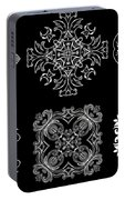 Coffee Flowers Ornate Medallions Bw 6 Peice Collage Portable Battery Charger