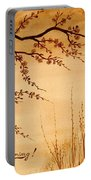Coffee Painting Cherry Blossoms Portable Battery Charger by Georgeta  Blanaru