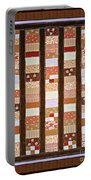 Coin Quilt -  Painting - Brown And White Patches Portable Battery Charger