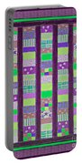 Coin Quilt - Quilt Painting - Purple And Green Patches Portable Battery Charger