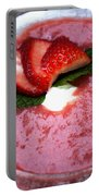 Cold Strawberry Rhubarb Soup In Ice Bowl Portable Battery Charger
