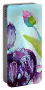 Collecting Pink And Purple Tulips Portable Battery Charger
