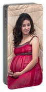 Color Portrait Young Pregnant Spanish Woman II Portable Battery Charger
