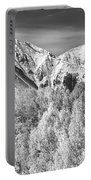 Colorado Rocky Mountain Autumn Magic Black And White Portable Battery Charger