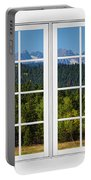 Colorado Rocky Mountains White Window Frame View Portable Battery Charger