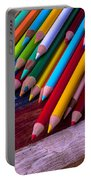 Colored Pencils On Wooden Flag Portable Battery Charger