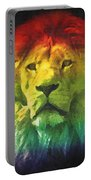 Colorful Artistic Portrait Of A Lion On Black Background  Portable Battery Charger