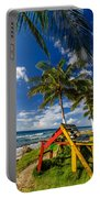 Colorful Bench On Caribbean Coast Portable Battery Charger